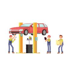 auto service car repair mechanic characters vector image