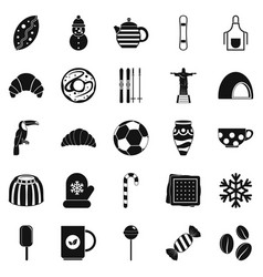 Bar icons set simple style vector