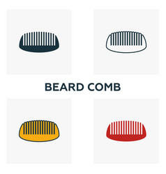 beard comb icon set four elements in diferent vector image