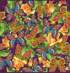 Beautiful pattern with butterflies and roses vector