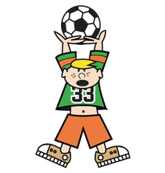 Boy playing soccer vector