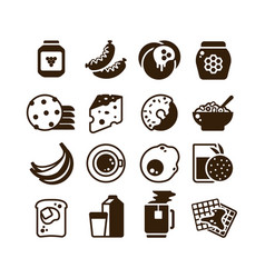 breakfast food silhouette icons isolated vector image vector image