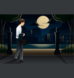 businessman coming home late from work vector image