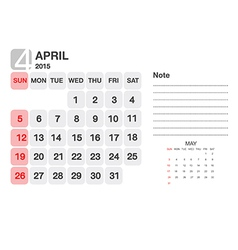 Calendar April 2015 vector image