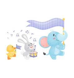 Cartoon duckling hare and elephant in parade vector