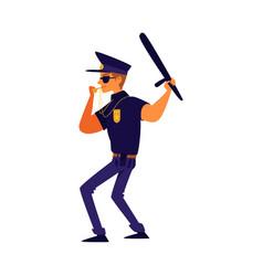 Cartoon policeman in blue uniform blowing a vector
