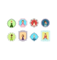 Cartoon princess set with frames vector