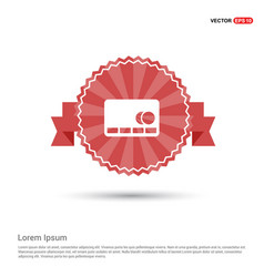 Cassette icon - red ribbon banner vector