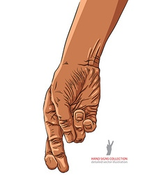 Cheater hand with crossed fingers African vector image