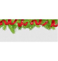 christmas banner red ribbon christmas tree vector image