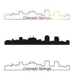 Colorado Springs skyline linear style with rainbow vector image