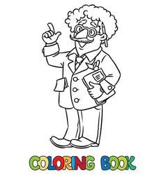 Coloring book funny scientist or inventor vector