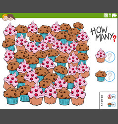 Counting muffins and cupcakes educational task vector