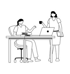 coworking female employees office desk laptop and vector image