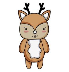 Cute and happy deer wild animal vector
