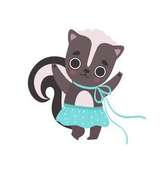 Cute little skunk girl in blue skirt adorable vector