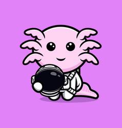 Cute oxolotl astronaut cartoon character vector