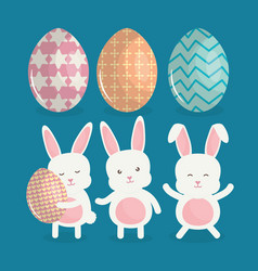 cute rabbits with easter eggs painted vector image