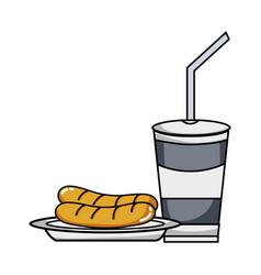 Delicios sausage and soda plastic cup meal vector