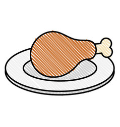Dish with thigh chicken meat icon vector