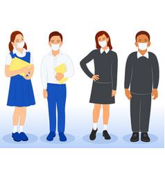 Diverse set children in school uniform and mask vector