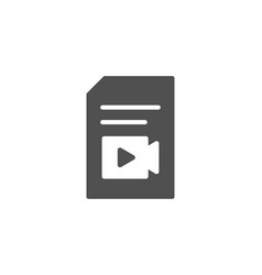 Document with video simple icon vlog file sign vector