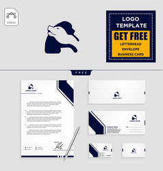 dog care logo template and stationery design vector image