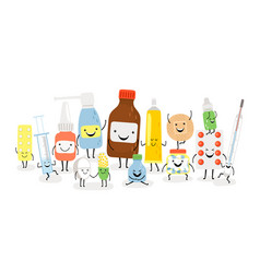 drug characters tablet syringe thermometer and vector image