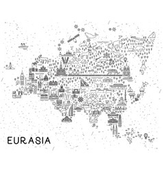 eurasia travel line icons map travel poster with vector image