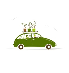 Family traveling by green car with plants on roof vector