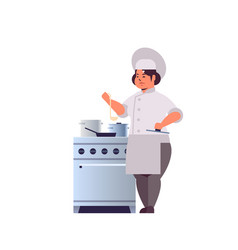 female professional chef cook preparing and vector image