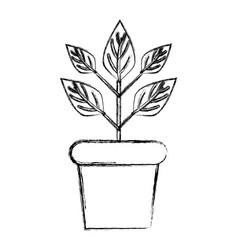 Figure plant inside flowerpot to ecology vector