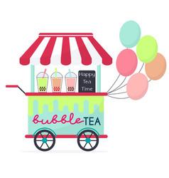 Flat colorful bubble tea vector