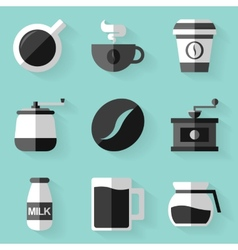 Flat icon set Coffee White style vector image