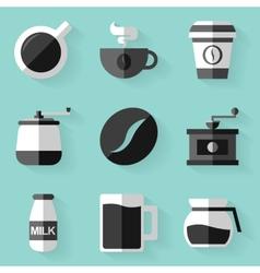Flat icon set Coffee White style vector image