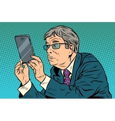 funny man taking pictures with smartphone vector image