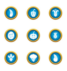 Garnish icons set flat style vector