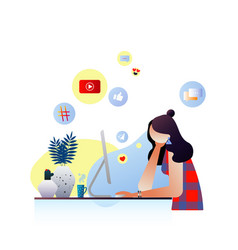 girl surfing social media concept vector image