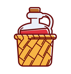 Glass jug of wine with cork in wicker basket vector