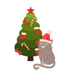greeting card cartoon cat santa s hat sitting tree vector image
