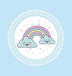 Hand draw cute clouds vector
