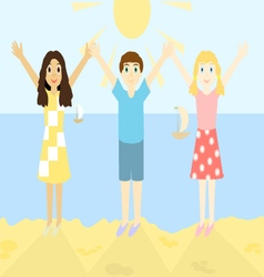 Happy children on the beach vector image