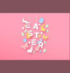 happy easter card paper craft spring decoration vector image