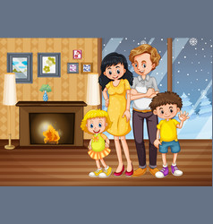 Happy family in house in winter vector