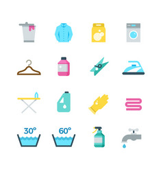 Household washing drying and laundry flat vector