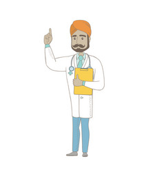 Indian doctor holding clipboard with documents vector