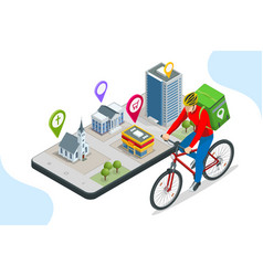 Isometric bicycle courier express delivery vector
