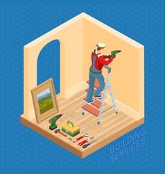 Isometric interior repairs concept worker is vector
