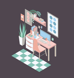 Isometric workplace with desk chair computer vector