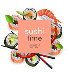 japanese sushi restaurant template with copy space vector image